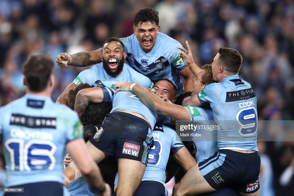 The Blues celebrate victory after game two of the State of Origin series between the New South Wales Blues and the Queensland Maroons at ANZ Stadium on June 24, 2018 in Sydney, Australia.