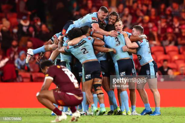 The Blues celebrate winning game two of the 2021 State of Origin series between the Queensland Maroons and the New South Wales Blues at Suncorp...