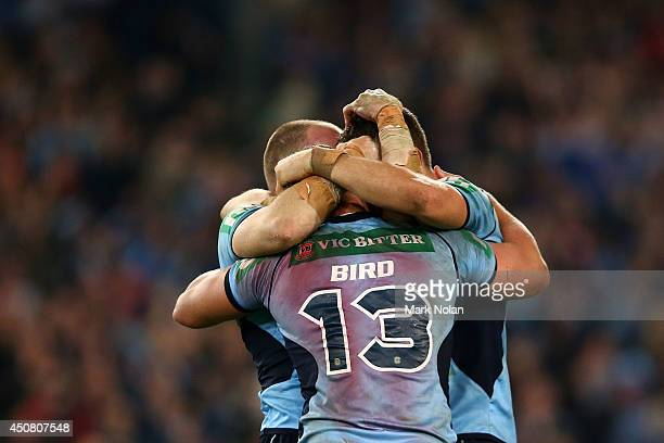 The Blues celebrate winning the series after winning game two of the State of Origin series between the New South Wales Blues and the Queensland...