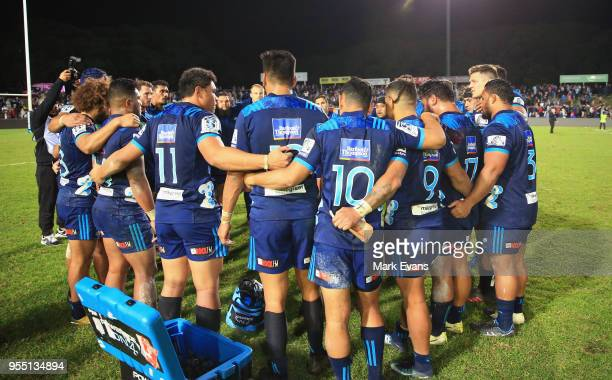 The Blues huddle after their win during the round 12 Super Rugby match between the Waratahs and the Blues at Lottoland on May 5 2018 in Sydney...