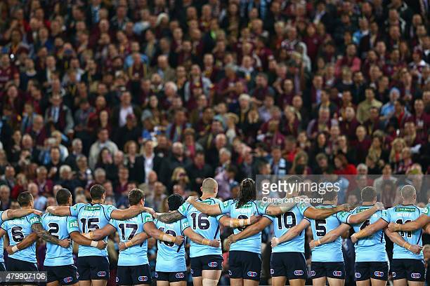 The Blues line up during game three of the State of Origin series between the Queensland Maroons and the New South Wales Blues at Suncorp Stadium on...