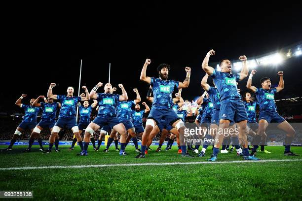 The Blues perform a prematch haha He Toa Takitini during the match between the Auckland Blues and the British Irish Lions at Eden Park on June 7 2017...