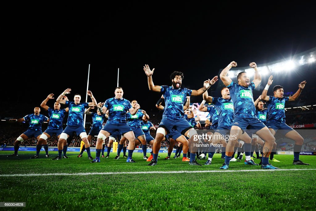 The Blues perform a pre-match haka, He Toa Takitini during the match between the Auckland Blues and the British & Irish Lions at Eden Park on June 7, 2017 in Auckland, New Zealand.