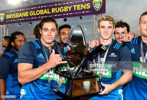 The Blues players celebrate victory after defeating the Hurricanes in the 2018 Global Tens Men's Grand Final match between the Blues and Hurricanes...