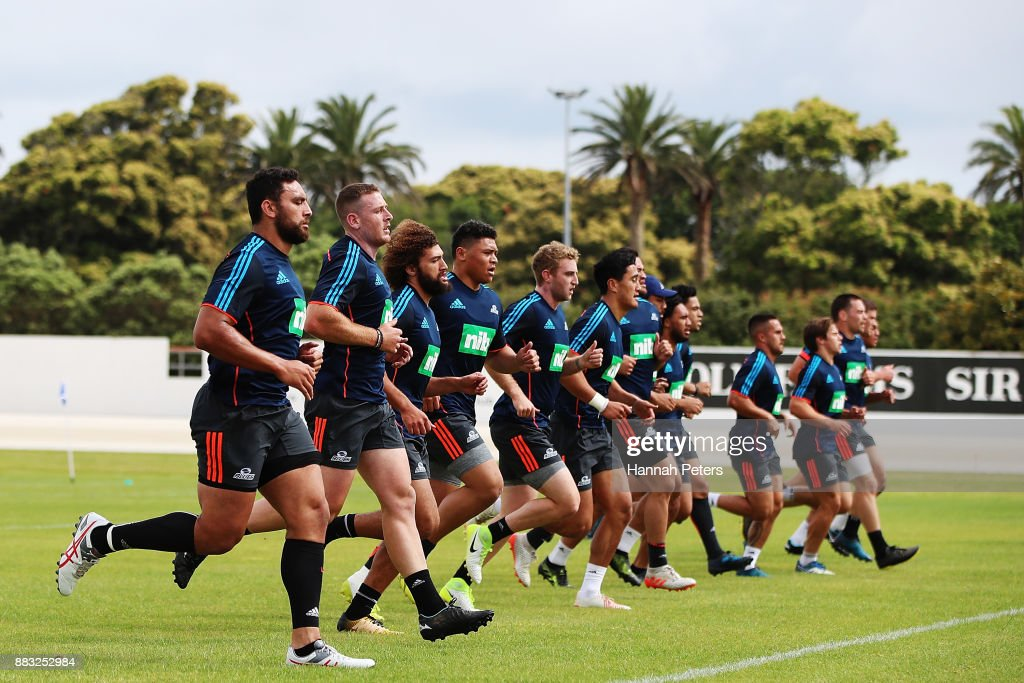 The Blues players take part in a beep test during an Auckland Blues Super Rugby pre season training session ahead of the 2018 Investec Super Rugby Championship at Alexandra Park on December 1, 2017 in Auckland, New Zealand.