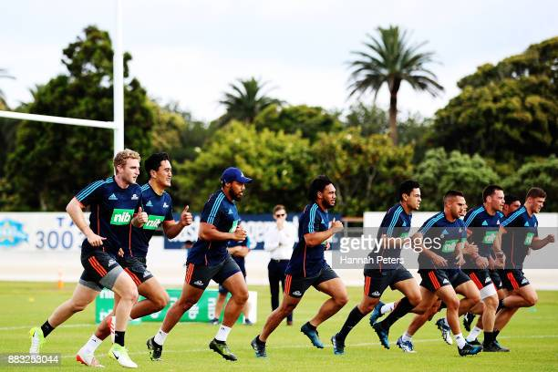 The Blues players take part in a beep test during an Auckland Blues Super Rugby pre season training session ahead of the 2018 Investec Super Rugby...