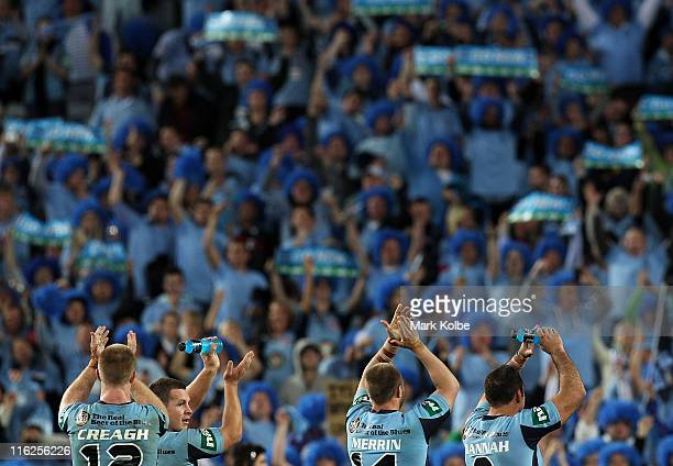 The Blues players thank the crowd after their victory during game two of the ARL State of Origin series between the New South Wales Blues and the...