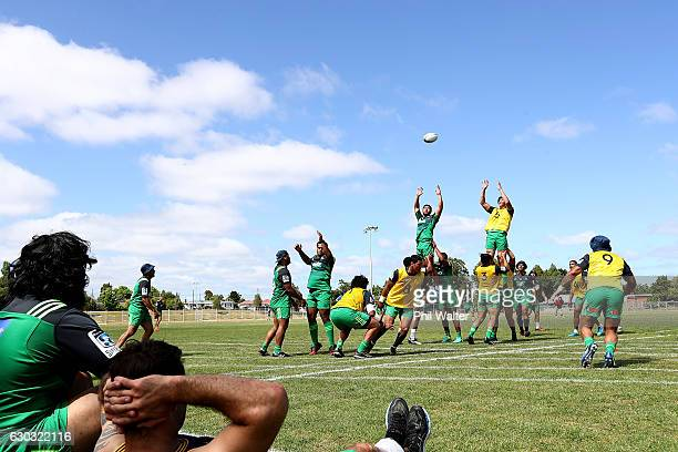The Blues practice a lineout during an Auckland Blues Super Rugby preseason training camp at the Kumeu Rugby Club on December 21 2016 in Auckland New...