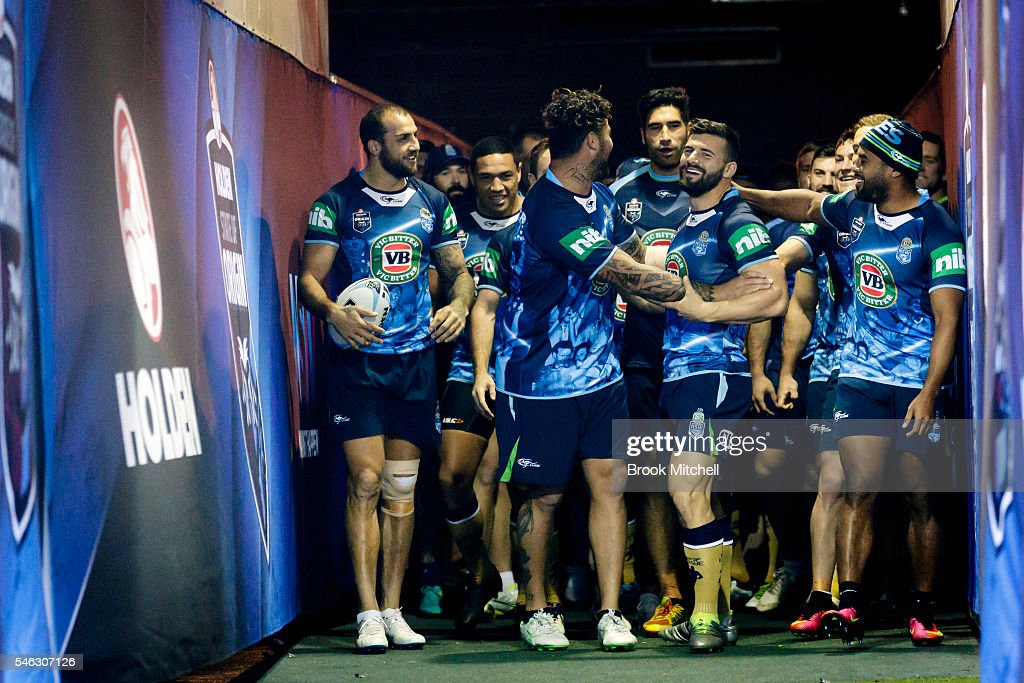 The Blues squad arrive for the New South Wales Blues State of Origin captain's run at ANZ Stadium on July 12, 2016 in Sydney, Australia.