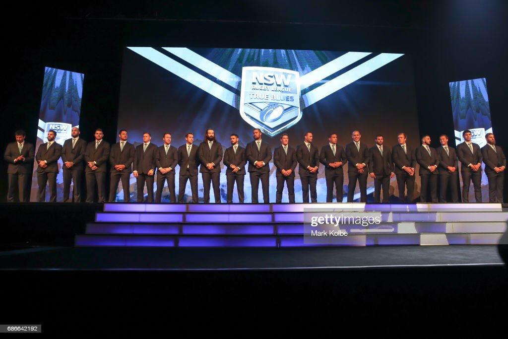 The Blues team stand on stage during the New South Wales State of Origin team announcement at The Star on May 22, 2017 in Sydney, Australia.