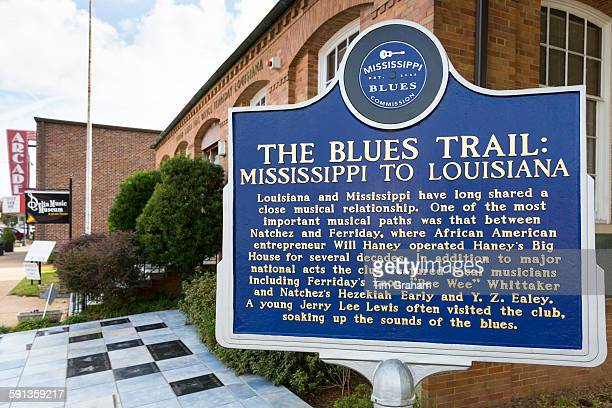 The Blues Trail Mississippi to Louisiana sign by Louisiana Delta Music Museum in Ferriday USA
