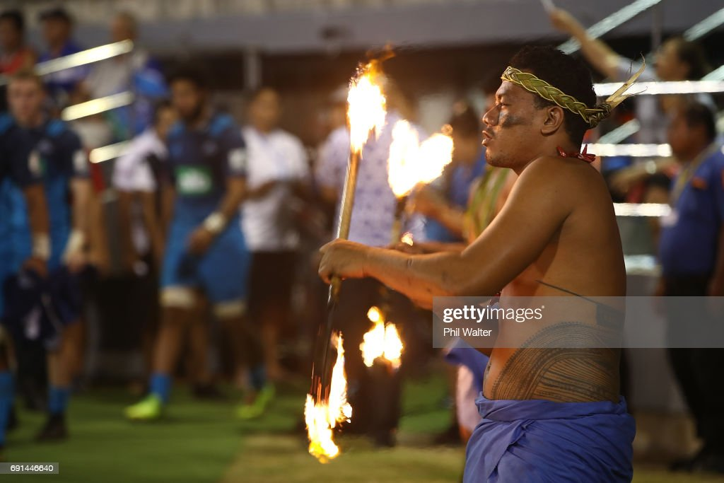 The Blues walk out onto the field during the round 15 Super Rugby match between the Blues and the Reds at Apia Park National Stadium on June 2, 2017 in Apia, Samoa.