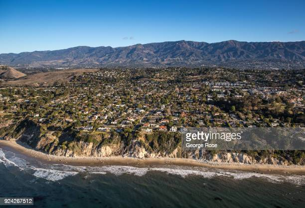 The bluffs along The Mesa are viewed in this aerial photo taken on February 23 in Santa Barbara California A combined series of natural disasters the...