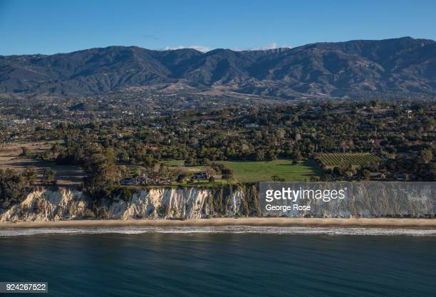 The bluffs at Hope Ranch are viewed in this aerial photo taken on February 23 in Santa Barbara California A combined series of natural disasters the...