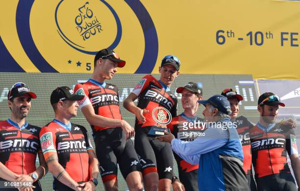 The BMC Racing Team receives the Best Team Trophy of Tour of Dubai 2018 On Saturday February 10 in Dubai United Arab Emirates Nicolas Roche Tom Bohli...