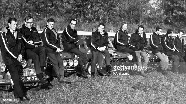 The BMC Rally Team of 1968 left to right Rauno Aaltonen Henry Liddon Tony Fall Mike Wood Paddy Hopkirk Ron Crellin Timo Makinen Paul Easter Lars...