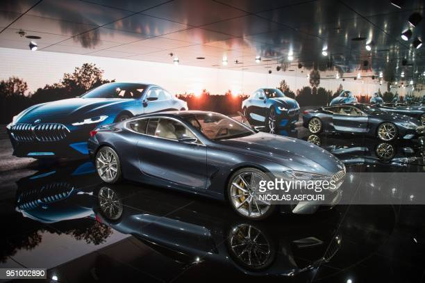 The BMW concept car 8 Series is seen at the Beijing Auto Show in Beijing on April 25 2018 Global carmakers touted their latest electric and SUV...