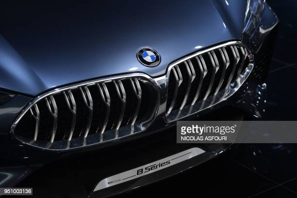 The BMW concept car 8 Series is seen at the Beijing Auto Show in Beijing on April 25, 2018. - Global carmakers touted their latest electric and SUV...