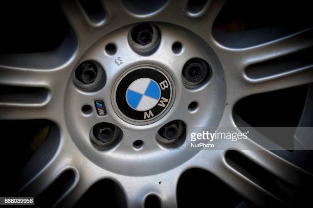 The BMW emblem is seen on the wheel of a BWM car in Bydgoszcz Poland on October 29 2017