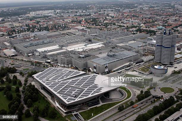 The BMW headquarters right BMW World information center foreground and BMW factory left are seen in Munich Germany on Monday Aug 3 2009 Bayerische...