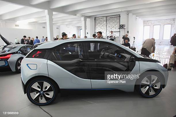 The BMW i3 concept vehicle is displayed at a sneak preview of the car with the BMW i8 on November 9 2011 in New York City The fully electric BMW i3...