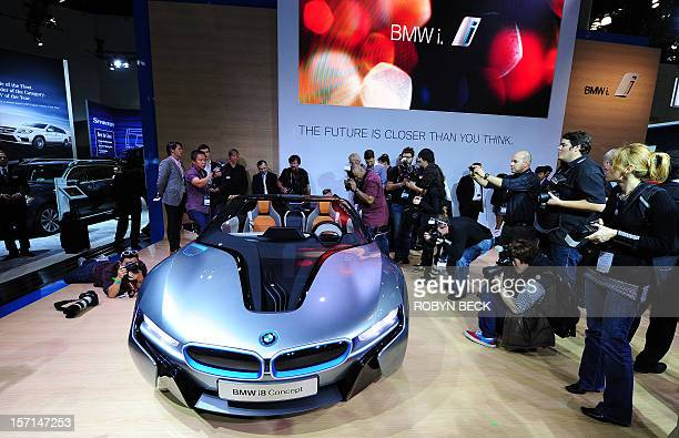The BMW i8 Concept sportscar is unveiled at the Los Angeles Auto show in Los Angeles, California on media preview day, November 28, 2012. \The LA...