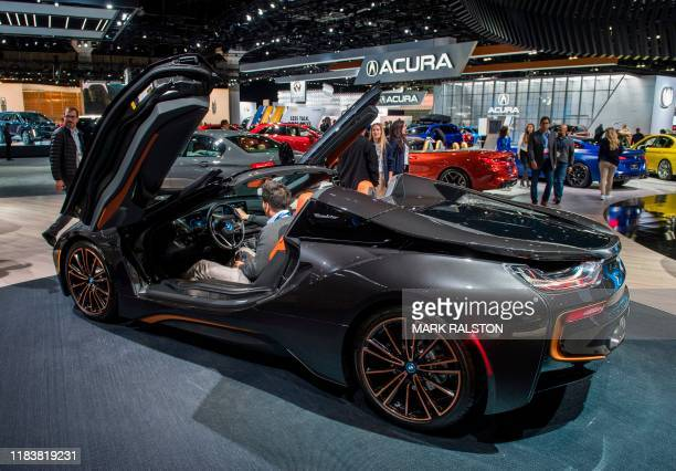 The BMW i8 sports car on display during the AutoMobility LA event, at the 2019 Los Angeles Auto Show in Los Angeles, California on November 21, 2019....