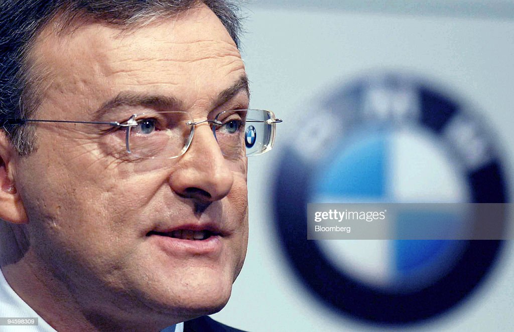 The BMW logo is mirrored in the glasses of Bayerische Motore : News Photo