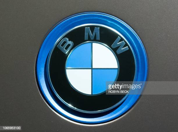 The BMW logo is seen at the unveil event for the BMW Vision iNEXT autonomous electric car ahead of the LA Auto Show November 27 2018 in Los Angeles...