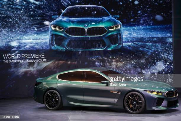 The BMW M8 Gran Coupe concept automobile manufactured by Bayerische Motoren Werke AG stands on display after its unveiling on the opening day of the...