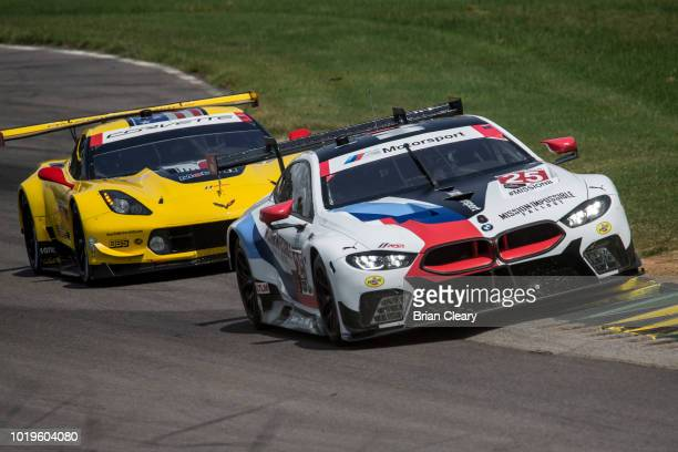 The BMW M8 GTE of Alexander Sims of Great Britain and Connor De Phillippi races on the track during the Michelin GT Challenge IMSA WeatherTech Series...