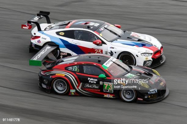 The BMW Team RLL BMW M8 GTE of Bill Auberlen Connor De Phillippi Philipp Eng and Alexander Sims and the Park Place Motorsports Porsche 911 GT3 R of...