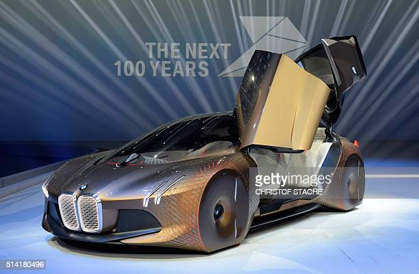 The BMW vision car 'The next 100 years' stands at a stage after a celebration show marking the 100th anniversary of BMW on March 7 2016 in the...