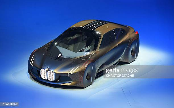 The BMW vision car 'The next 100 years' stands at a stage during a celebration show marking of the 100th anniversary of BMW on March 7 2016 in the...