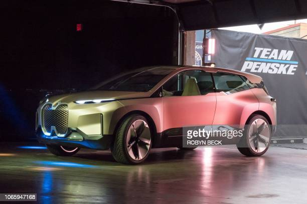 The BMW Vision iNEXT electric car drives autonomously as it enters to be unveiled ahead of the LA Auto Show November 27 2018 in Los Angeles The BMW...