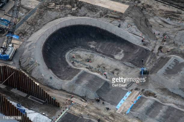 The BMX track which will form part of Ariake Urban Sports Park for the 2020 Olympics is pictured on July 24, 2019 in Tokyo, Japan. Preparation is...