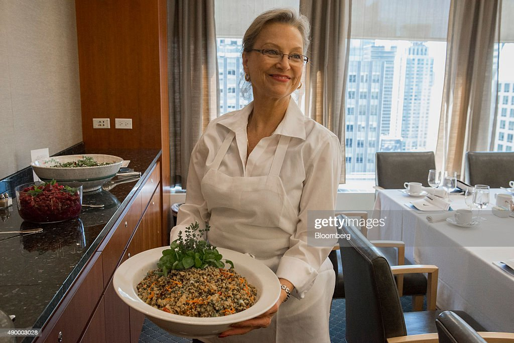 The BNP Paribas SA executive chef displays a dish for a photograph at the company's office in New York, U.S., on Wednesday, Sept. 16, 2015. Many of Wall Street's biggest banks have revamped their dining facilities in recent years, adding copious amounts of salad and partnering with local businesses to provide a smorgasbord of organic offerings. Photographer: Stephanie Keith/Bloomberg via Getty Images