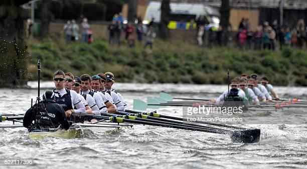 The BNY Mellon Mens University Boat Race Oxford Vs Cambridge Putney to Mortlake River Thames London UK Cambridge lead Oxford at Barnes Bridge in very...