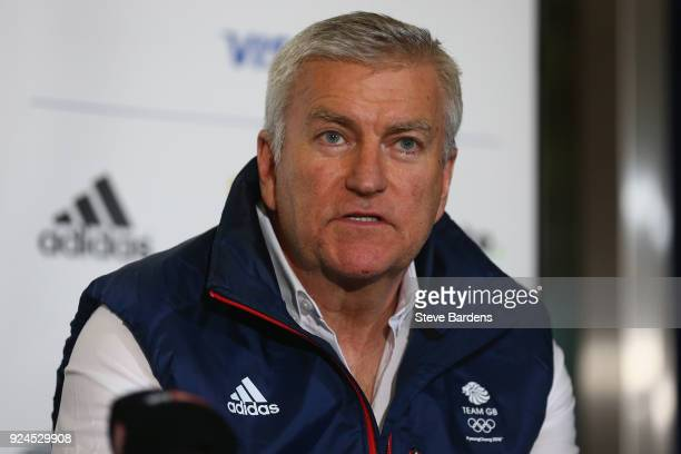 The BOA CEO Bill Sweeney talks to the media during a press conference at the Team GB Homecoming from the Winter Olympics at Heathrow Airport on...