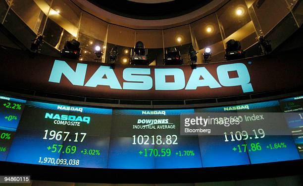 The board at the Nasdaq Marketsite in New York displays the close of the three major US indicies Thursday March 25 2004 US stocks surged lifting the...