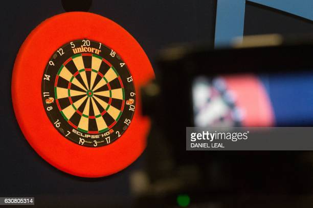 The board awaits the players' arrival ahead of the PDC World Championship darts final between Netherlands' Michael van Gerwen and Scotland's Gary...