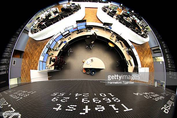 The board displaying the day's course of the DAX stock market index at the Frankfurt Stock Exchange on February 11, 2016 in Frankfurt, Germany. Stock...
