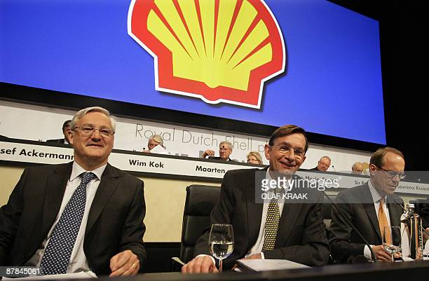 The board of oil group Royal Dutch Shell is pictured during a shareholders meeting in The Hague with CFO Peter Voser CEO Jeroen van der Veer and...