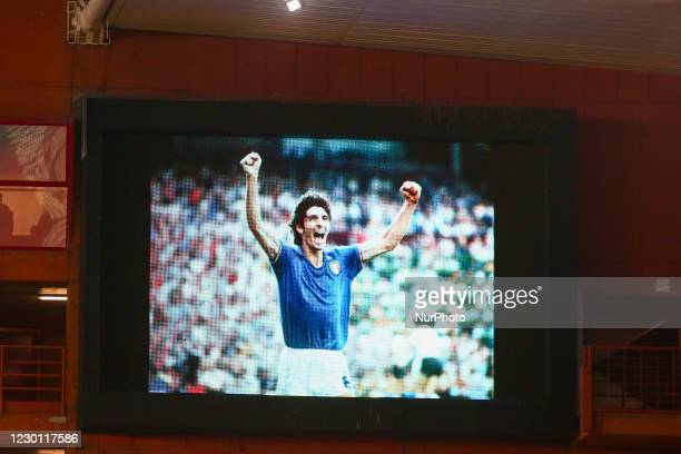 The board with the image of Paolo Rossi, former Italian world champion, recently deceased during the Serie A football match between Genoa CFC and...