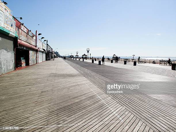 the boardwalk, coney island, new york, usa - boardwalk stock pictures, royalty-free photos & images
