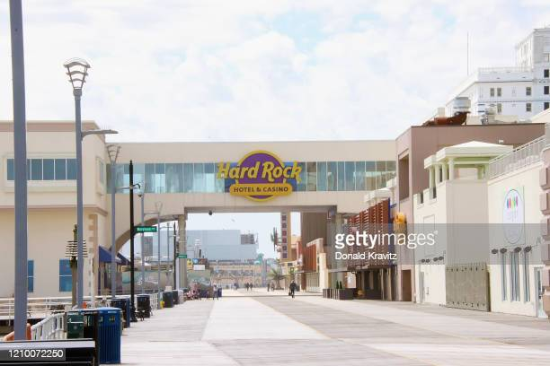 The Boardwalk heading south toward Hard Rock Casino during the coronavirus pandemic on April 14 2020 in Atlantic City New Jersey COVID19 has spread...
