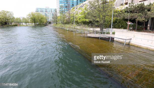 The boardwalk is underwater at Harbour Square Park West as the High water levels in Lake Ontario have portions of Toronto's waterfront flooded in...