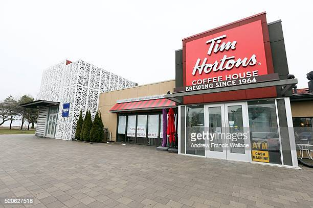 TORONTO ON APRIL 11 The boardwalk pub is sporting a sign that say a Tim Hortons is coming April 11 2016 George Foulidis owner of the Boardwalk Pub...