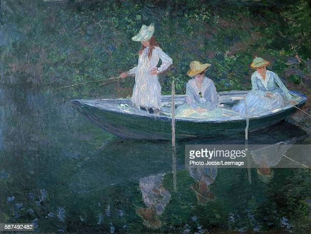 The Boat at Giverny Portraits of madame Hoschede's daughters Germaine Suzanne et Blanche in 1887 Painting by Claude Monet Oil on canvas Orsay Musem...