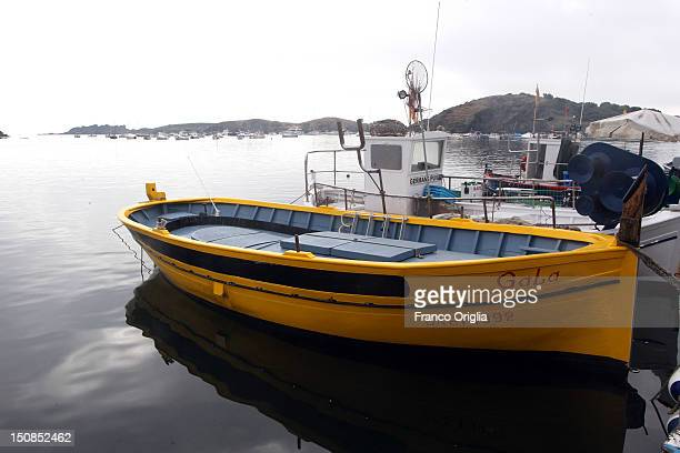 The boat of Salvador Dali dedicated to his wife Gala is seen in Port Ligat on August 18 2012 in Cadaques Spain Cadaques is on a bay in the middle of...